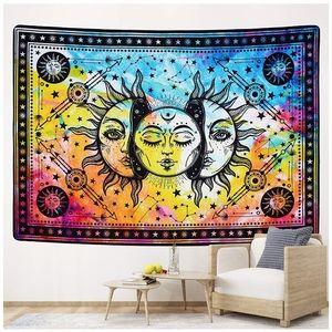 "Sun and Moon Tapestry Burning Sun 51.2"" x 59.1"""
